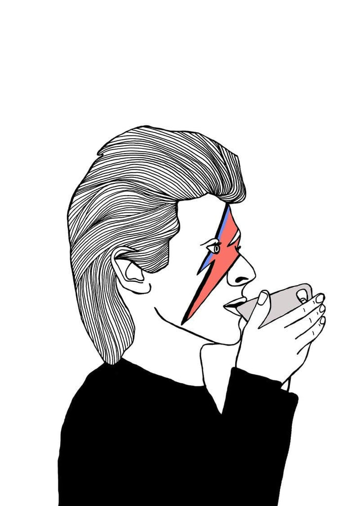David Bowie Drinking Tea Art Music Carissa Tanton for We Built This City 2
