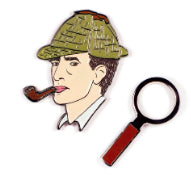 Sherlock Holmes & Magnifying Glass Enamel Pins Pins & Patches Unemployed Philosophers Guild for We Built This City 2