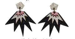 Bang Bang Drop Stud Earrings - Black, Silver & Pink