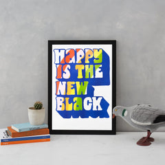 Happy Is The New Black Risograph Art Typography Yellow Owl Workshop for We Built This City 2