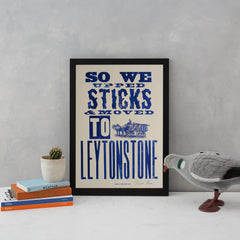 Upped Sticks to Leytonstone Art Typography Hooksmith Press for We Built This City 2