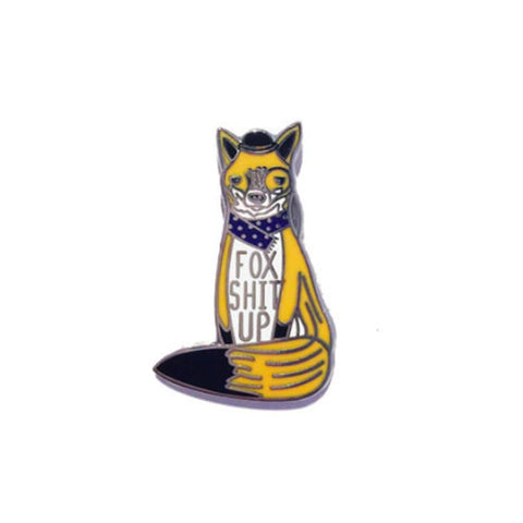 Fox Shit Up Enamel Pin