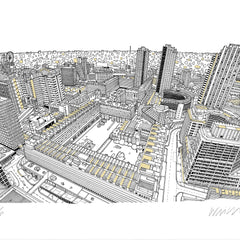 Barbican Gold A3 Art Map Will Clarke for We Built This City 4
