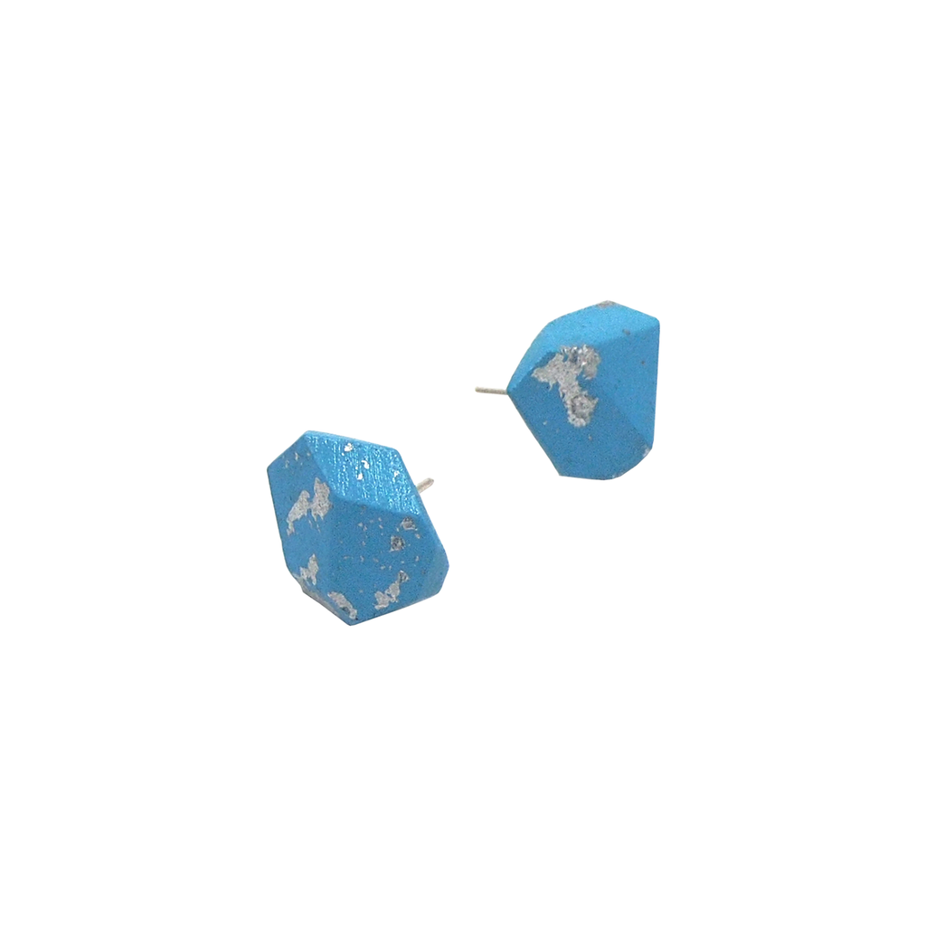 Metallic Blue Stud Earrings
