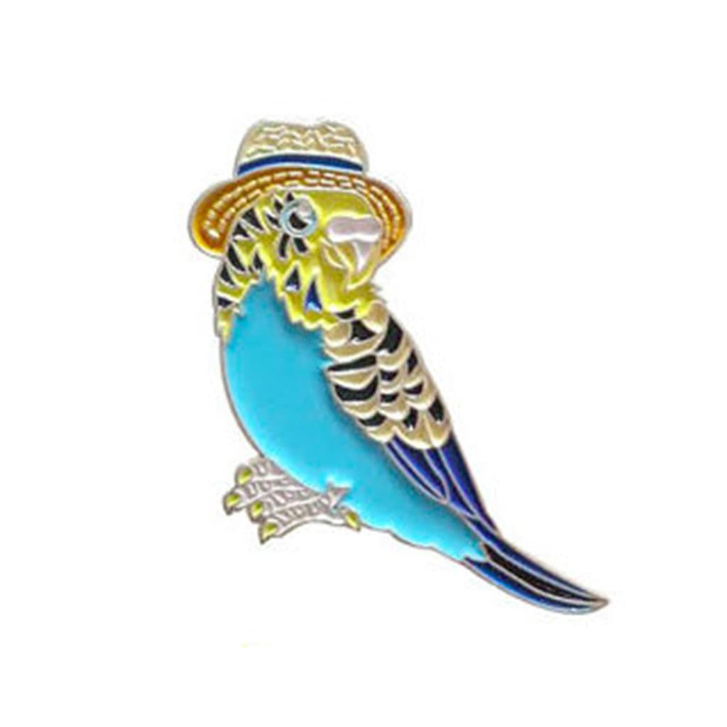 Budgie in a Trilby Enamel Pin