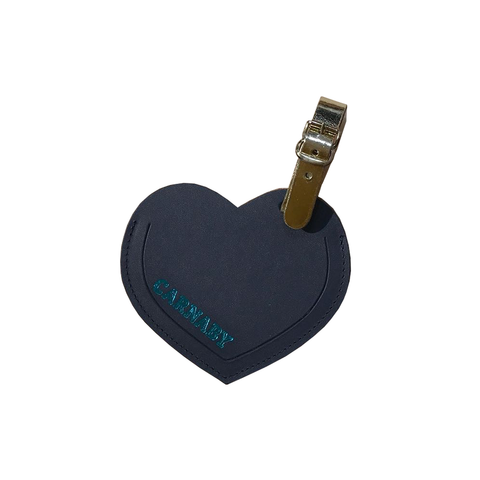Carnaby Heart Leather Luggage Tag Navy