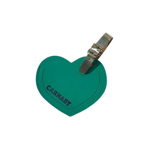 Carnaby Heart Leather Luggage Tag Viridian Green