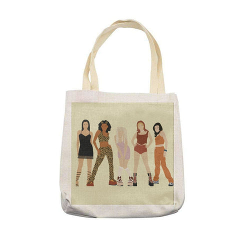 spice girls scary baby posh ginger sporty tote bag carrier linen foldaway