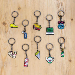 Hackney Chicken and Chips Enamel Keyring
