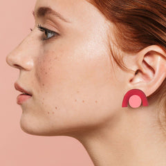 Faye Earrings - Magenta and Rose