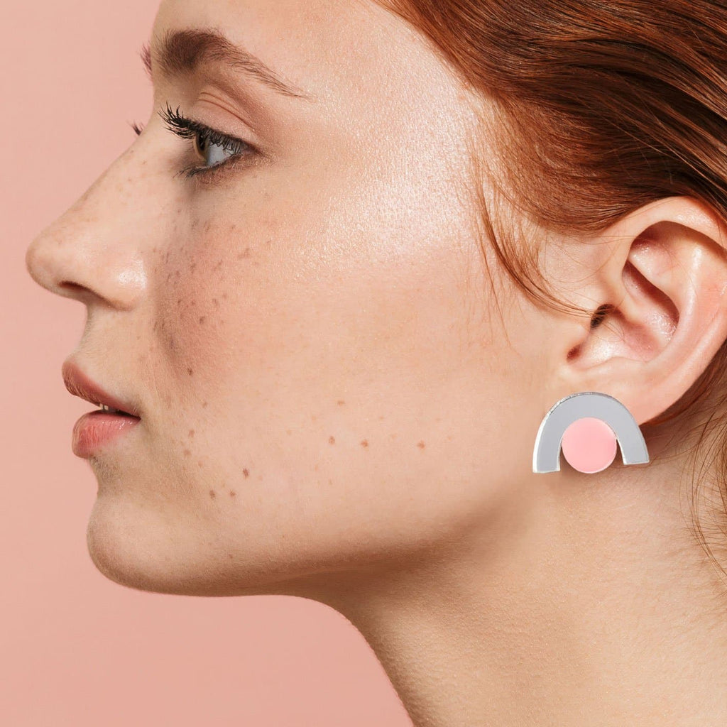 Faye Earrings - Silver and Peach Jewellery - Earrings Natalie Lea Owen for We Built This City 2