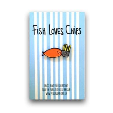 Fish Loves Chips Enamel Pin