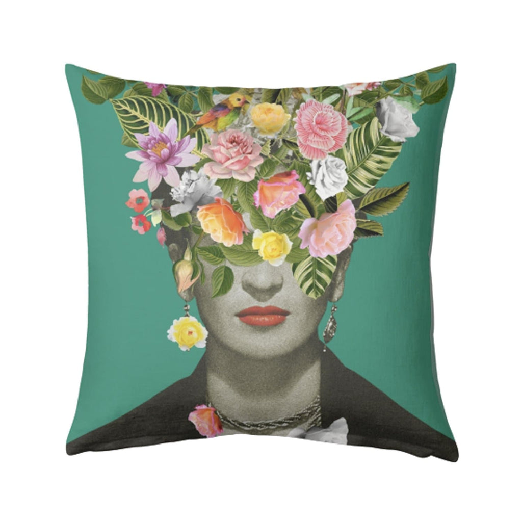 Frida Floral Cushion (Green)