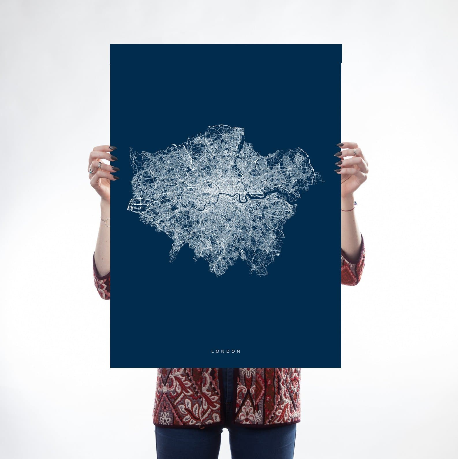 Art prints we built this city blue white greater london map malvernweather Image collections