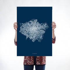 Blue & White Greater London Map