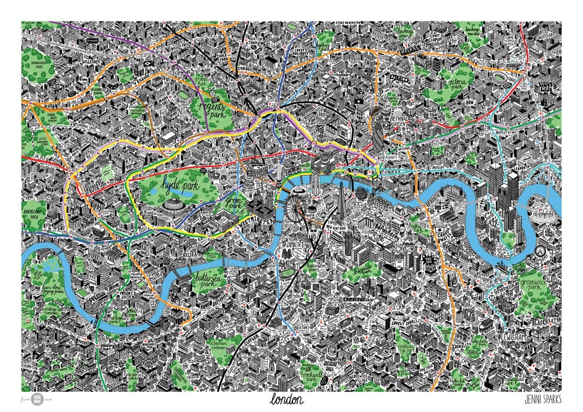Map City London.Hand Drawn Map Of London By Jenni Sparks