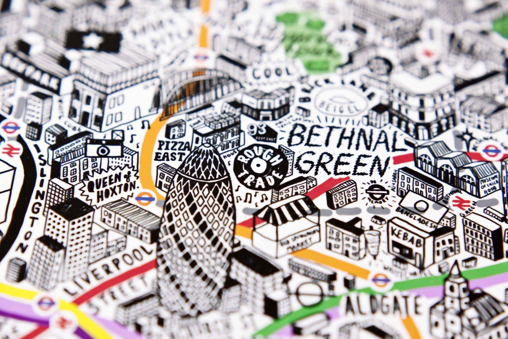 Hand Drawn Map of London Art Map Jenni Sparks for We Built This City 4