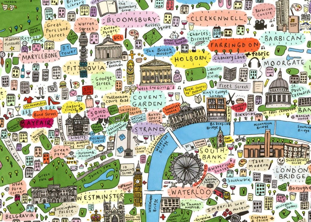 Illustrated Map Of London We Built This City: Map Of London Print At Infoasik.co