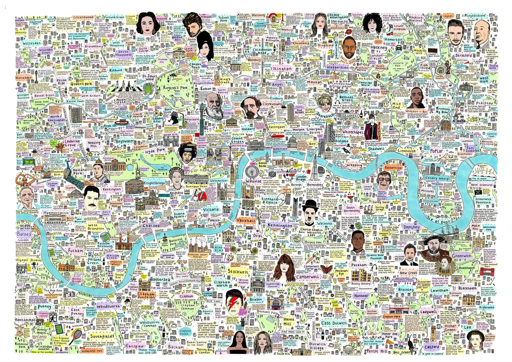 London Map of History and Culture Art Map House of Cally for We Built This City 3