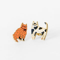 Orange and Polka Dot Cat Earrings in Glass Bottle