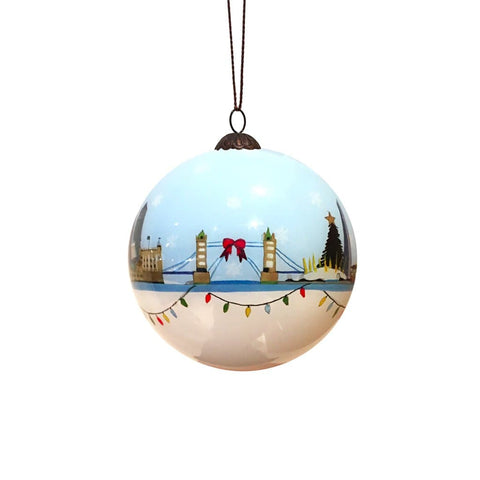 Hand Painted London Skyline Glass Bauble