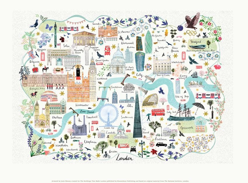 London Floral City Map A3 Art Commission Josie Shenoy Illustration for We Built This City 2