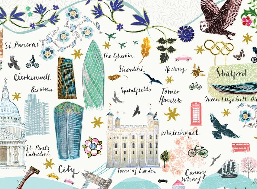 London Floral City Map A3 Art Commission Josie Shenoy Illustration for We Built This City 9