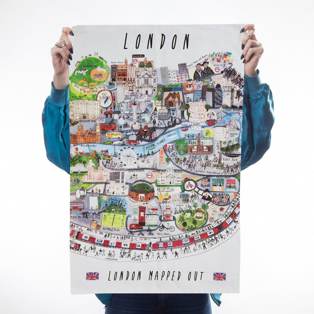 London Mapped Out Tea Towel Kitchen Textiles - Teatowels Maisie Paradise Shearring for We Built This City 1