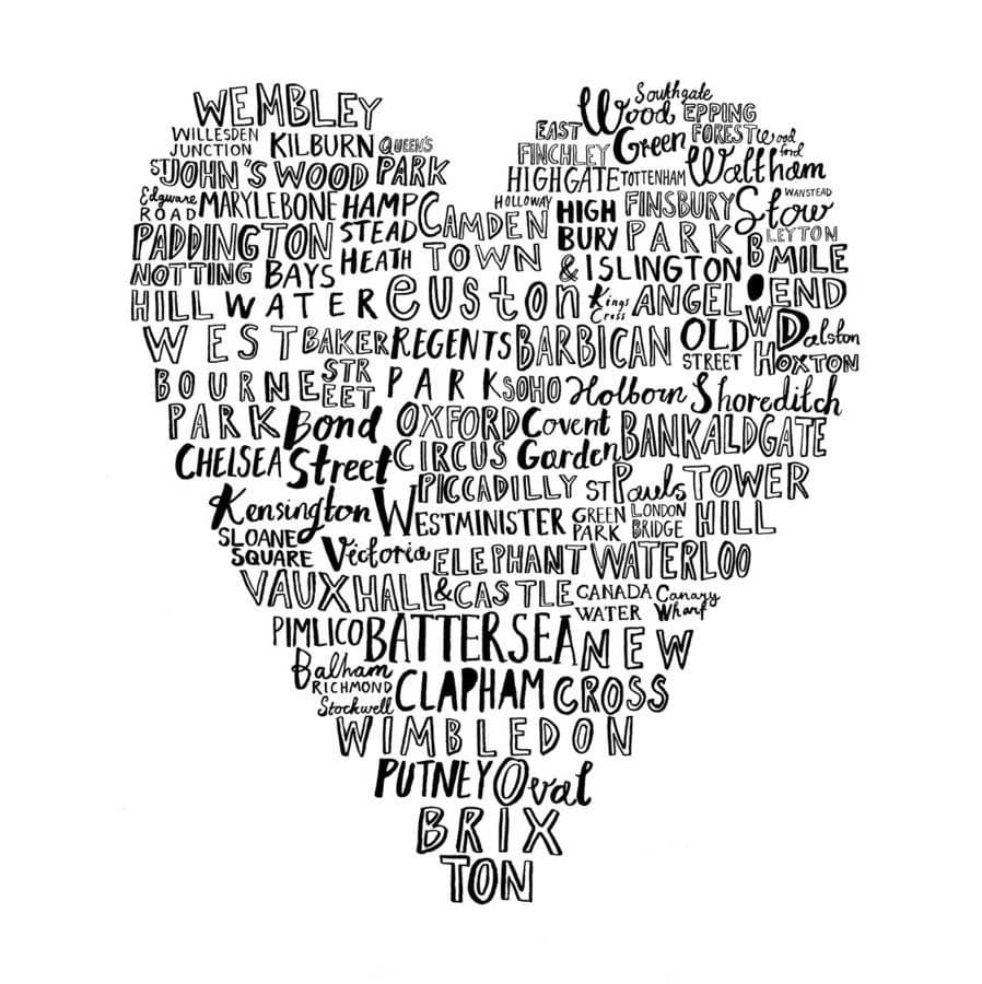 My Heart Belongs To London Art Typography Karin Akesson Design for We Built This City 2