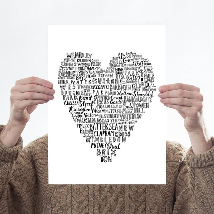 My Heart Belongs To London Art Typography Karin Akesson Design for We Built This City 1