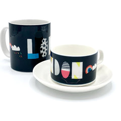 london typography nichola cowdery letters mug cup saucer for We Built This City 5