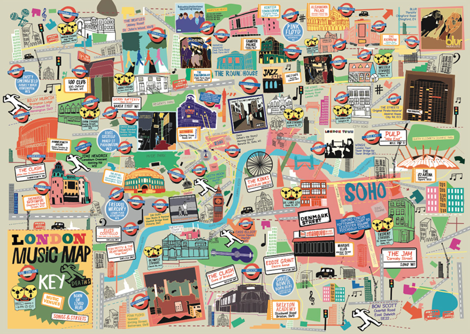 London Music Map (A3) Art Map Nick Faber & RUDE for We Built This City 2