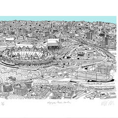 Olympic Park Light Blue A3 Art Map Will Clarke for We Built This City 4