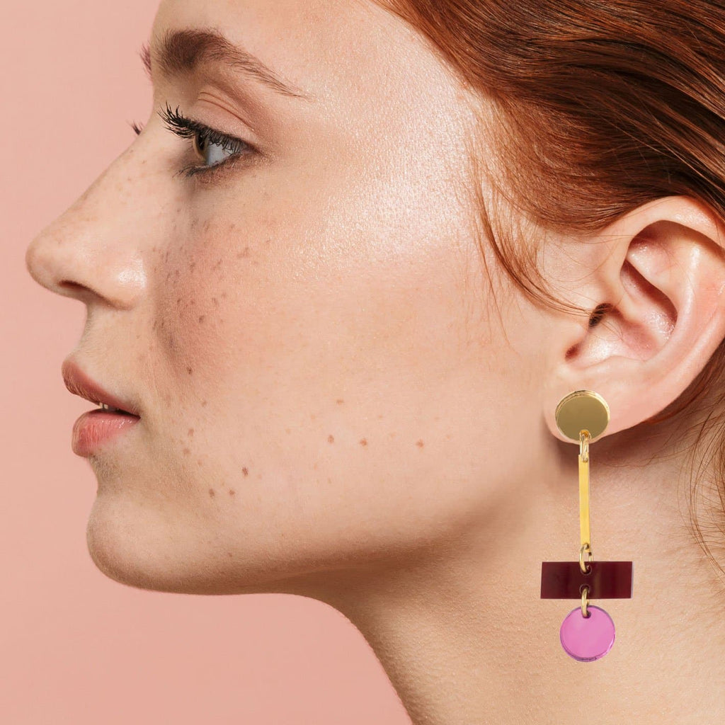 Roberta Earrings - Gold, Maroon and Rose