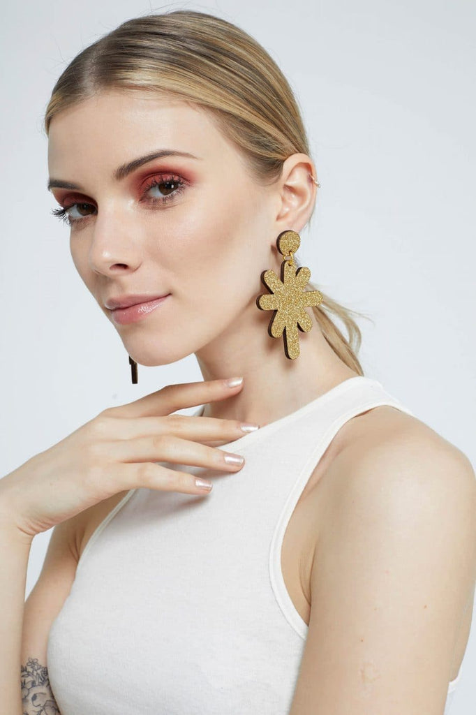 Magic Stardust Giant Drop Stud Earrings - Gold Jewellery - Earrings Kam Creates for We Built This City 2