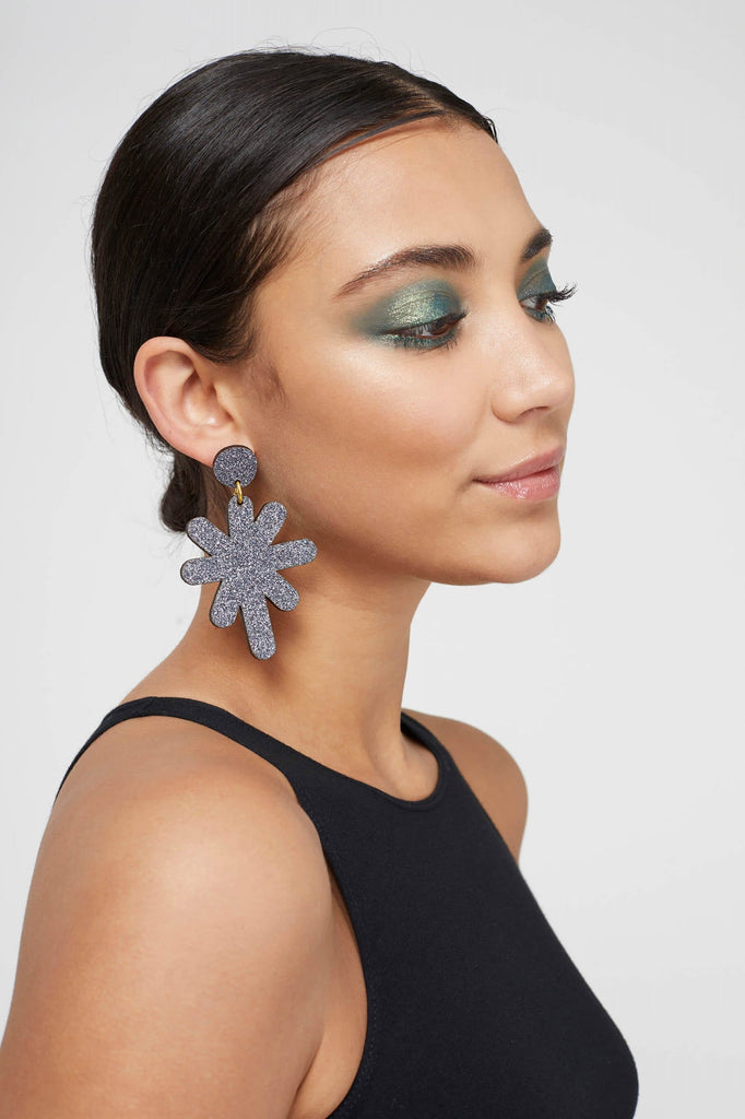 Magic Stardust Giant Drop Stud Earrings - Grey Jewellery - Earrings Kam Creates for We Built This City 2