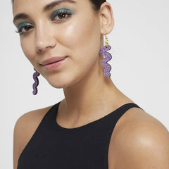 Squiggle Hook Glitter Earrings - Lavender Jewellery - Earrings Kam Creates for We Built This City 2