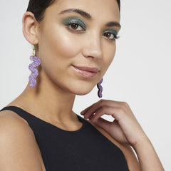 Squiggle Hook Glitter Earrings - Lavender Jewellery - Earrings Kam Creates for We Built This City 3
