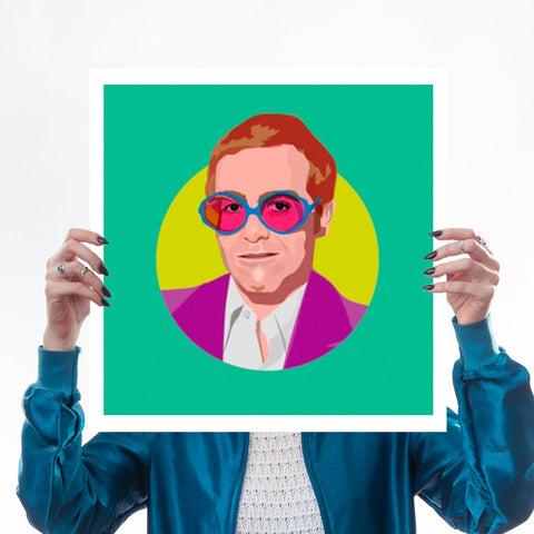 Elton John Rocket Man Glasses Colour Print