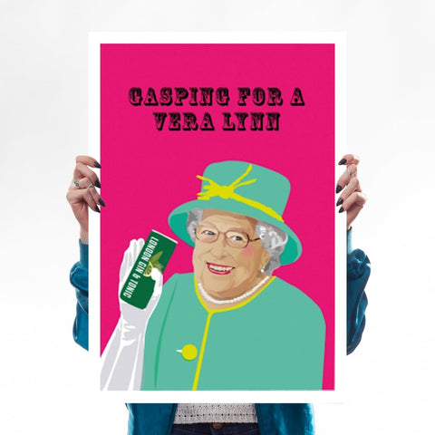 The Queen Gin Tonic Vera Lynn Print A2