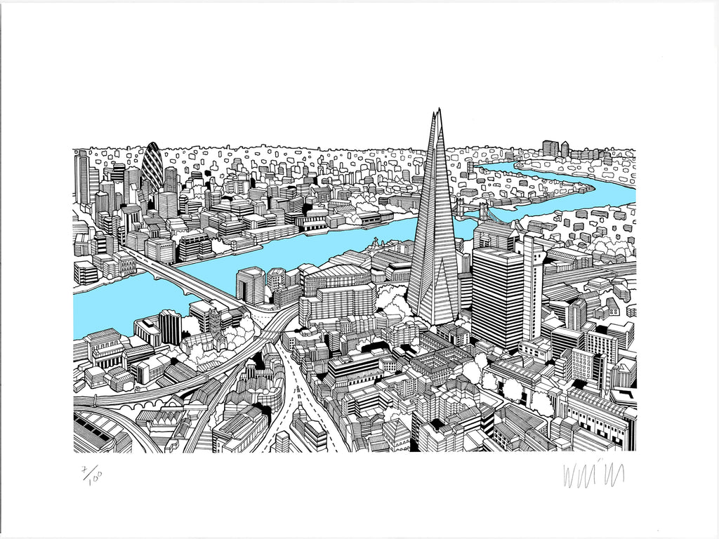 The Shard Light Blue A3 Art Map Will Clarke for We Built This City 4