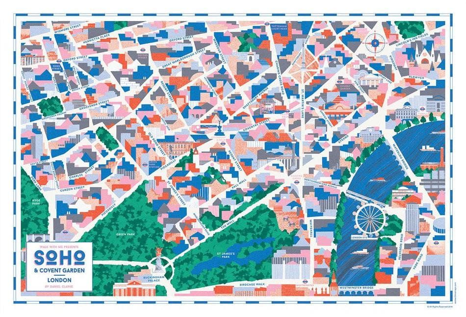 Soho & Covent Garden Map Art Map Walk With Me for We Built This City 2