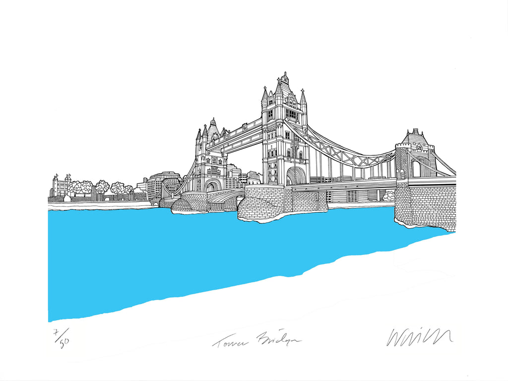 Tower Bridge Turquoise A3 Art Map Will Clarke for We Built This City 4