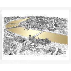will clarke gold silver thames a1 london eye map line drawing metallic for We Built This City 4