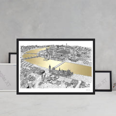 will clarke gold silver thames a1 london eye map line drawing metallic for We Built This City 2
