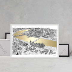 will clarke gold silver thames a1 london eye map line drawing metallic for We Built This City 3