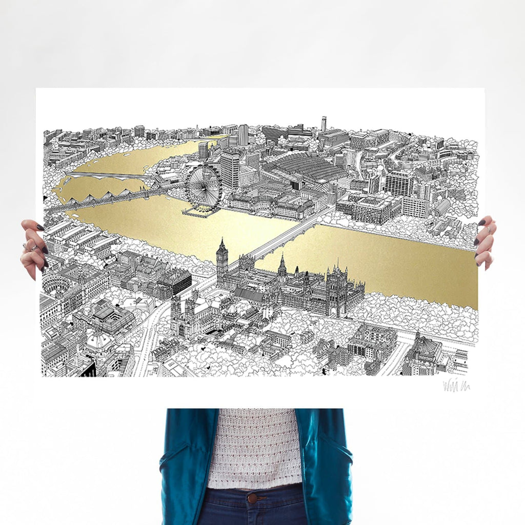 will clarke gold silver thames a1 london eye map line drawing metallic for We Built This City 1