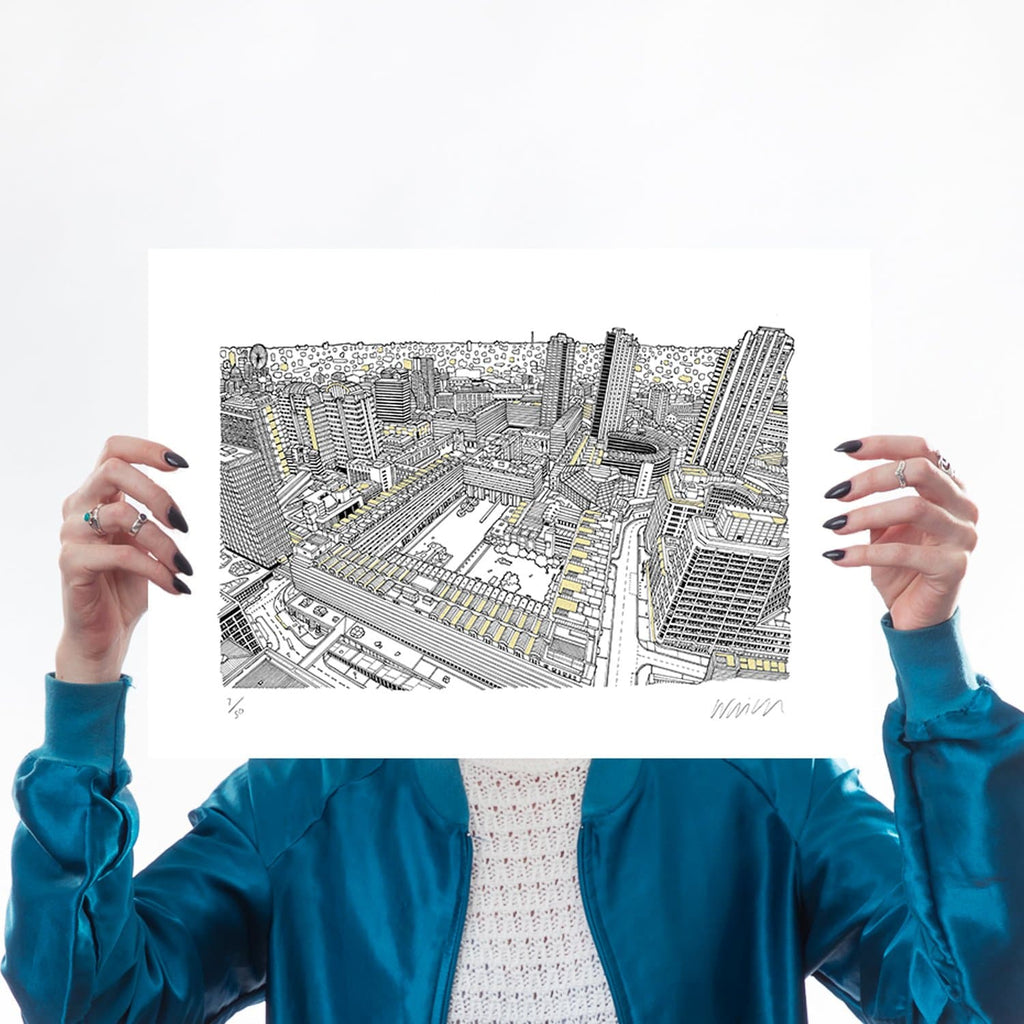 Barbican Gold A3 Art Map Will Clarke for We Built This City 1