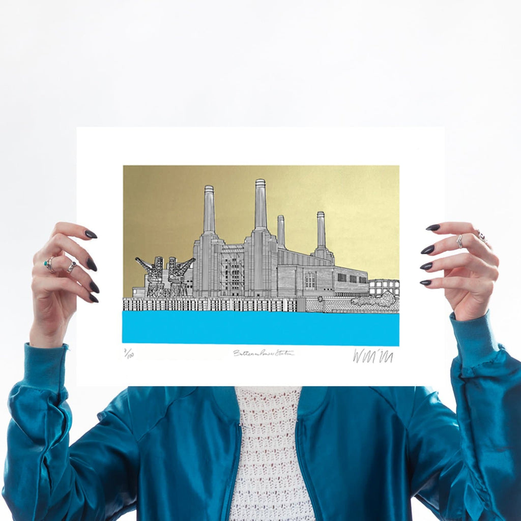 Battersea Power Station Blue and Gold A3 Art Map Will Clarke for We Built This City 1