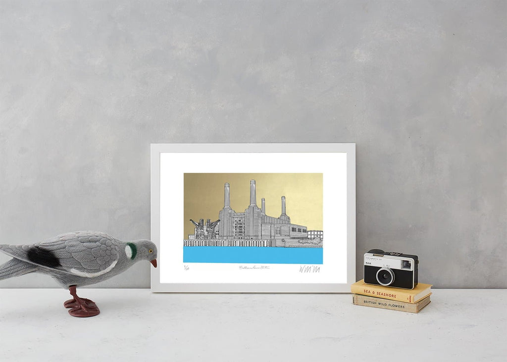Battersea Power Station Blue and Gold A3 Art Map Will Clarke for We Built This City 2
